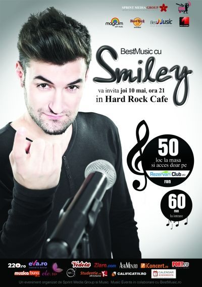 Concert - BestMusic cu SMILEY @ Hard Rock Cafe. Joi, 10 mai, ora 21:00. by Sprint Media Group