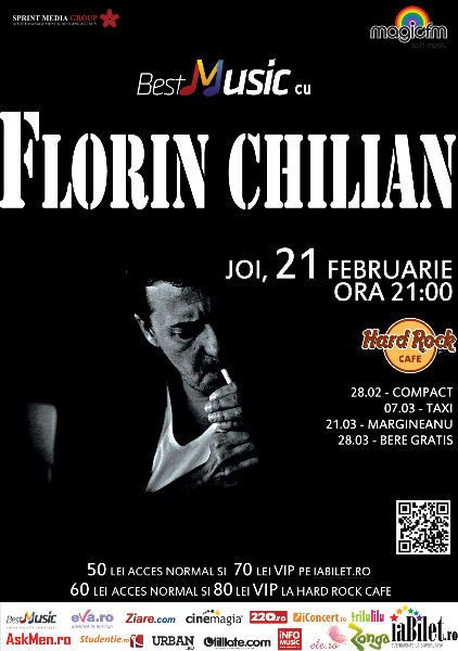 CONCERT: BestMusic cu Florin Chilian @ Hard Rock Cafe, joi, 21 februarie. Organizat de Sprint Media și Magic FM.